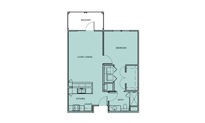 A1 - 1 bedroom floorplan layout with 1 bath and 712 square feet