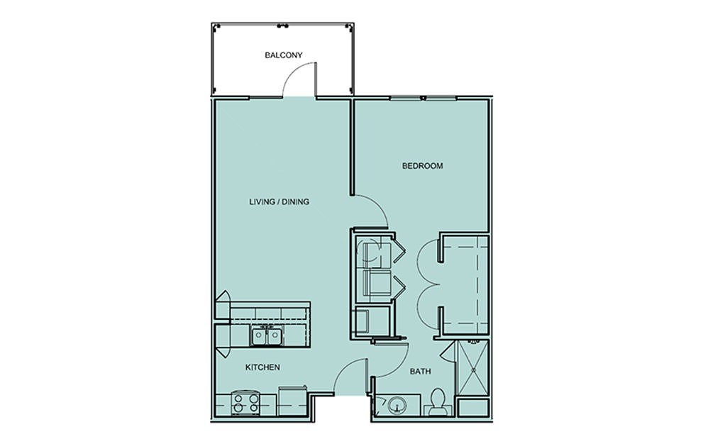 A1 - 1 bedroom floorplan layout with 1 bath and 712 square feet (1st floor 2D)