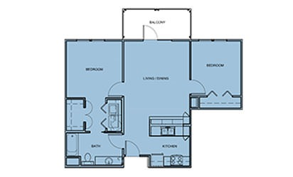 B0 - 2 bedroom floorplan layout with 1 bath and 867 square feet