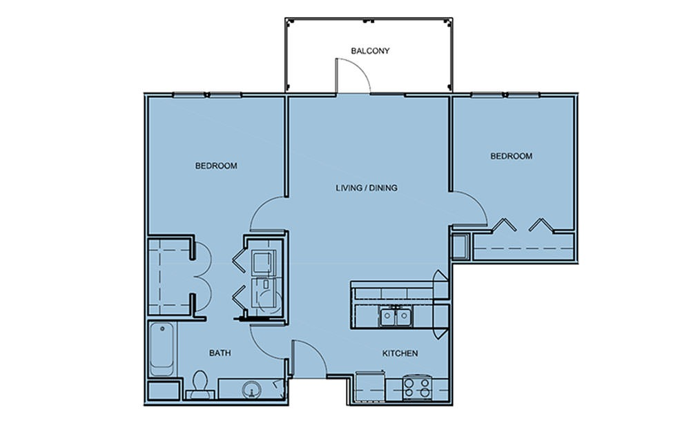 B0 - 2 bedroom floorplan layout with 1 bath and 867 square feet (1st floor 2D)