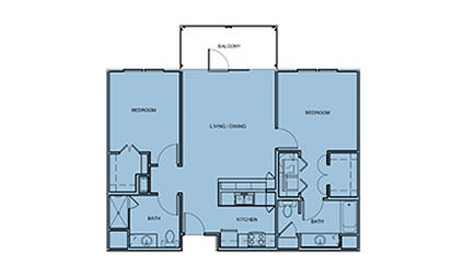 B1 - 2 bedroom floorplan layout with 2 bath and 1000 square feet
