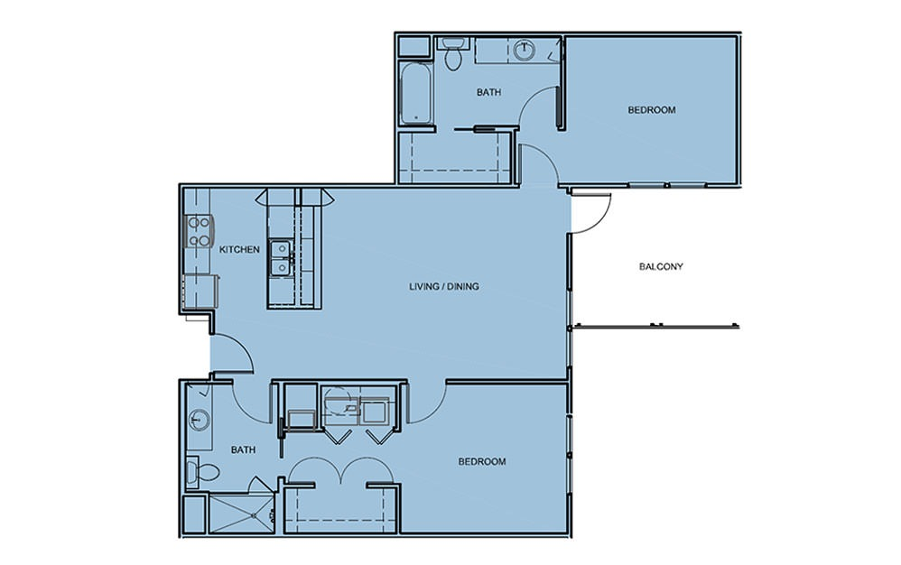 B2 - 2 bedroom floorplan layout with 2 bath and 1100 square feet (1st floor 2D)
