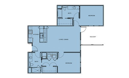 B2 - 2 bedroom floorplan layout with 2 bath and 1100 square feet