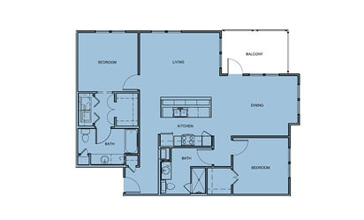 B3 - 2 bedroom floorplan layout with 2 bath and 1223 square feet