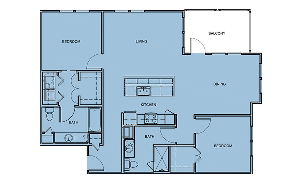 B3 - 2 bedroom floorplan layout with 2 bath and 1223 square feet (1st floor 2D)
