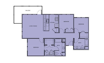 C1 - 3 bedroom floorplan layout with 2 bath and 1200 square feet