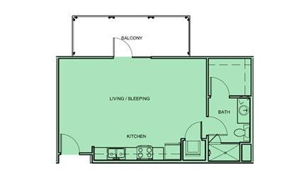 E1 - Studio floorplan layout with 1 bath and 524 square feet