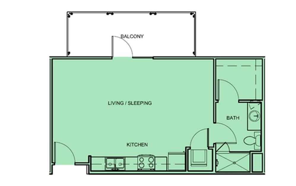 E1 - Studio floorplan layout with 1 bath and 524 square feet (1st floor 2D)