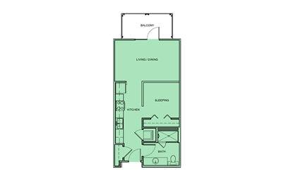 E2 - Studio floorplan layout with 1 bath and 535 square feet