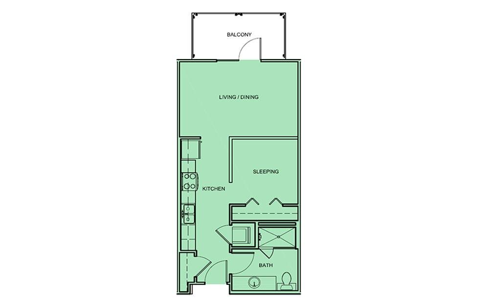 E2 - Studio floorplan layout with 1 bath and 535 square feet (1st floor 2D)